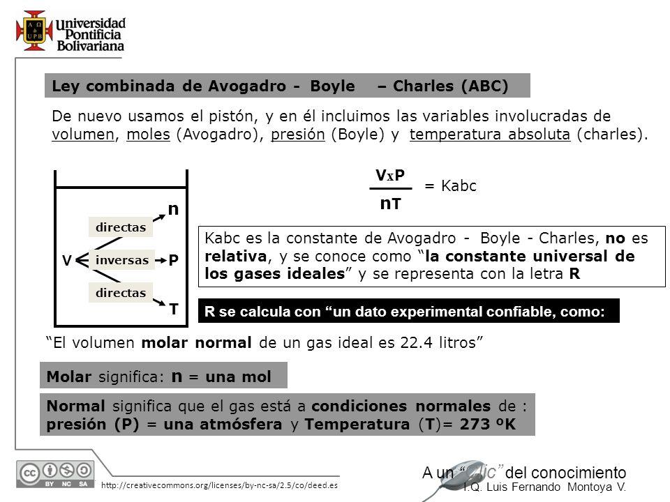 nT n Ley combinada de Avogadro - Boyle – Charles (ABC)