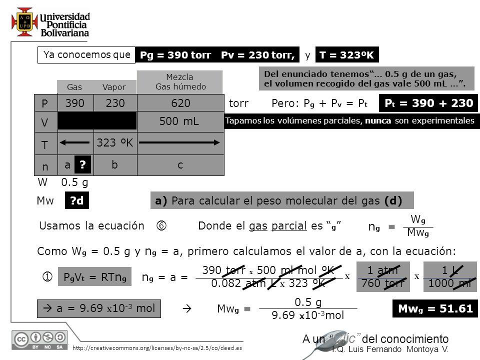 o j ng = ng = a = P V T n 390 230 620 torr Pero: Pg + Pv = Pt