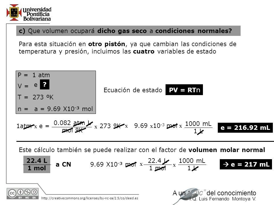 c) Que volumen ocupará dicho gas seco a condiciones normales