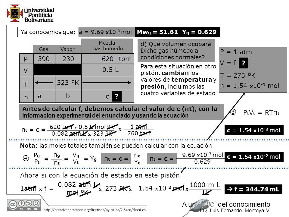 l m P = 1 atm P V T n 390 230 620 torr V = f 0.5 L T = 273 ºK 323 ºK