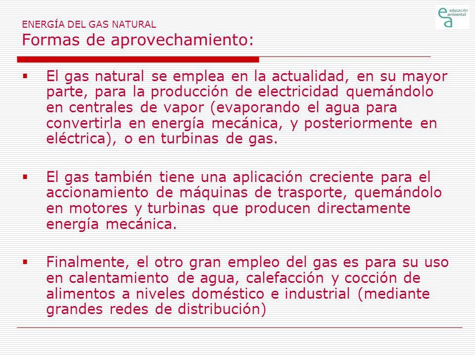 ENERGÍA DEL GAS NATURAL Formas de aprovechamiento: