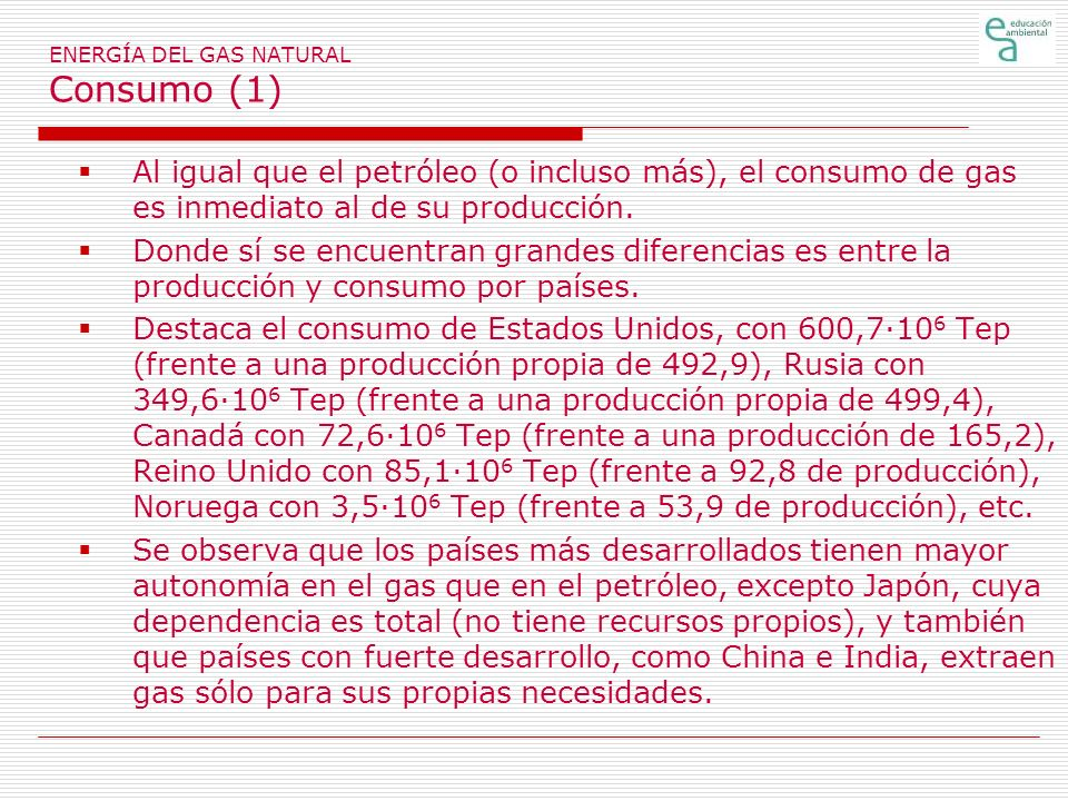ENERGÍA DEL GAS NATURAL Consumo (1)