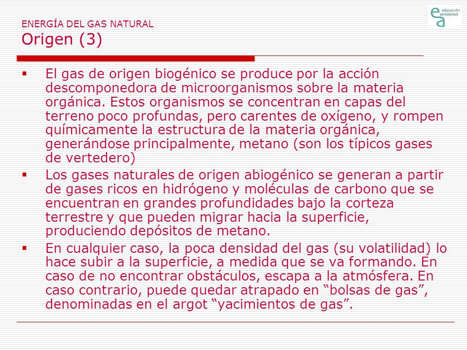 ENERGÍA DEL GAS NATURAL Origen (3)