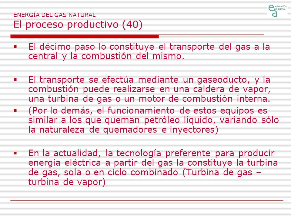 ENERGÍA DEL GAS NATURAL El proceso productivo (40)