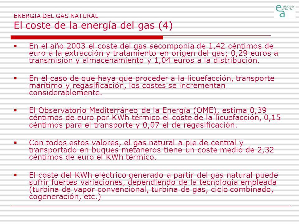 ENERGÍA DEL GAS NATURAL El coste de la energía del gas (4)
