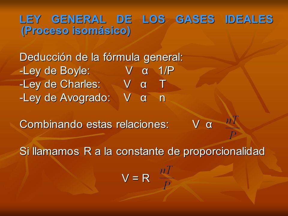 LEY GENERAL DE LOS GASES IDEALES (Proceso isomásico)
