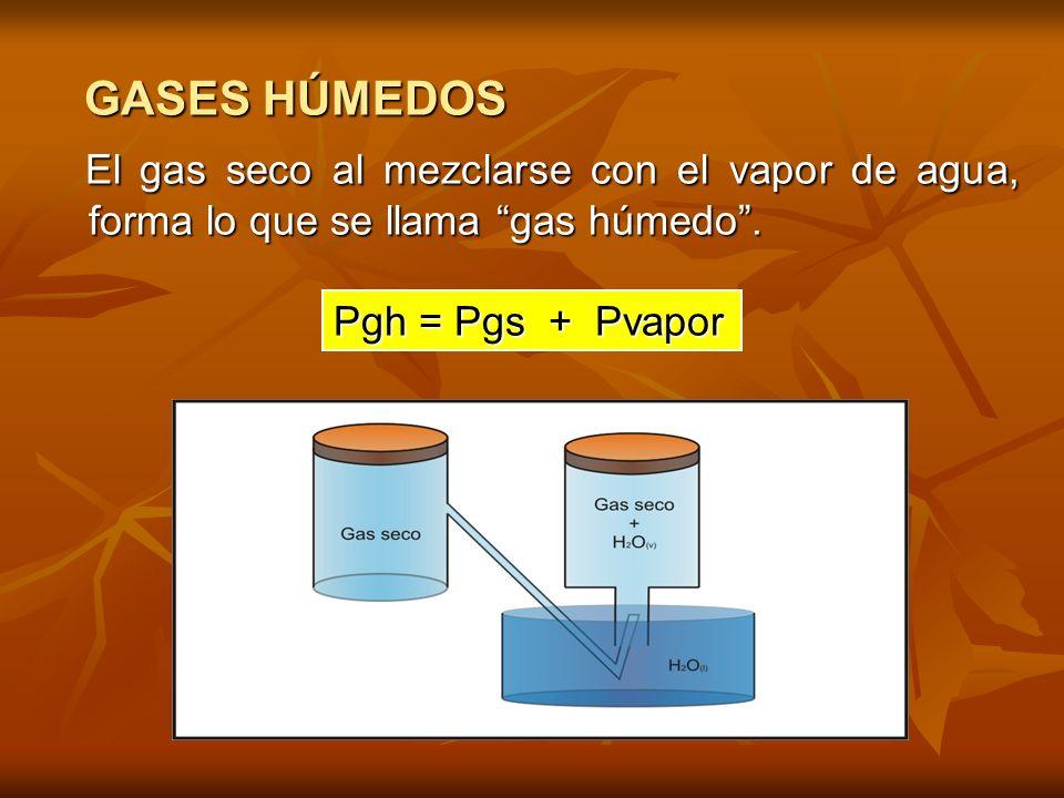 GASES HÚMEDOS El gas seco al mezclarse con el vapor de agua, forma lo que se llama gas húmedo .