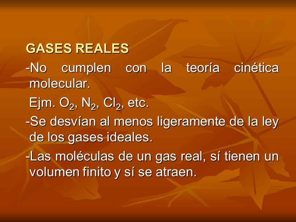 GASES REALES -No cumplen con la teoría cinética molecular. Ejm. O2, N2, Cl2, etc. -Se desvían al menos ligeramente de la ley de los gases ideales.