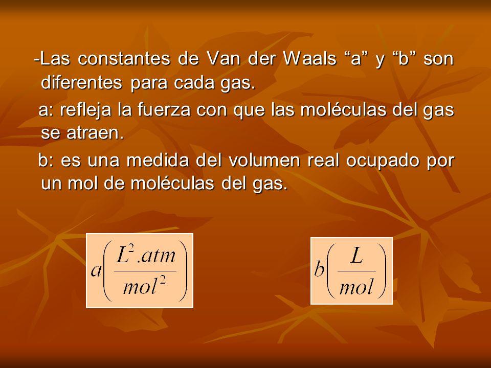 -Las constantes de Van der Waals a y b son diferentes para cada gas.