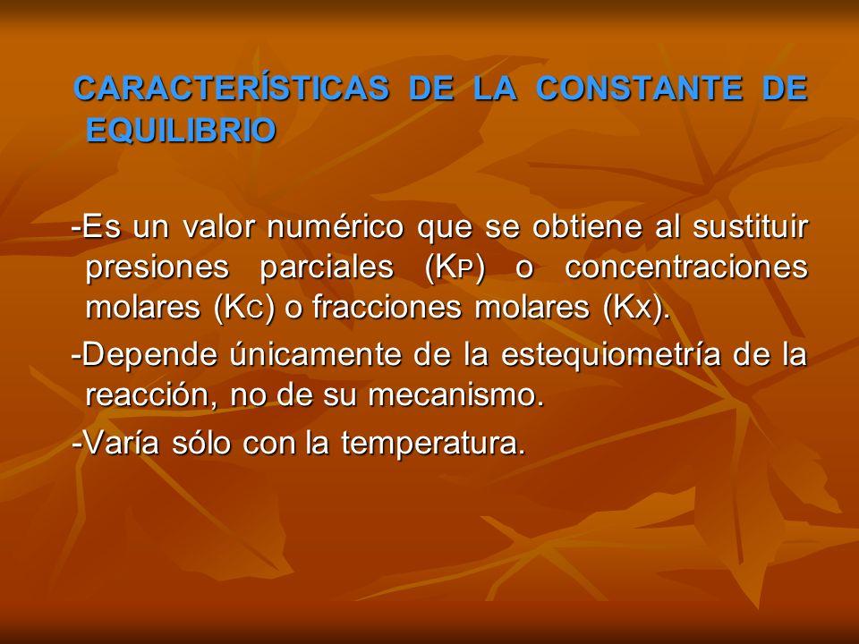 CARACTERÍSTICAS DE LA CONSTANTE DE EQUILIBRIO