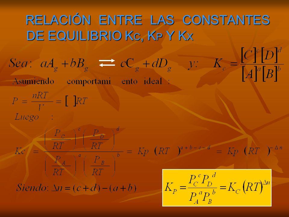 RELACIÓN ENTRE LAS CONSTANTES DE EQUILIBRIO KC, KP Y KX