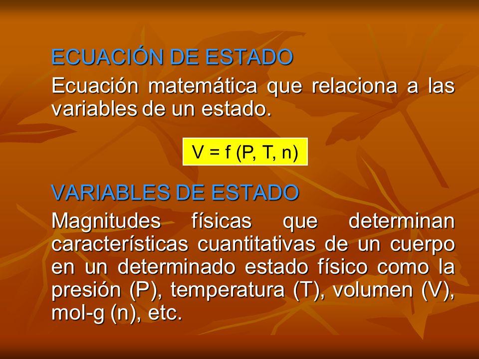 Ecuación matemática que relaciona a las variables de un estado.