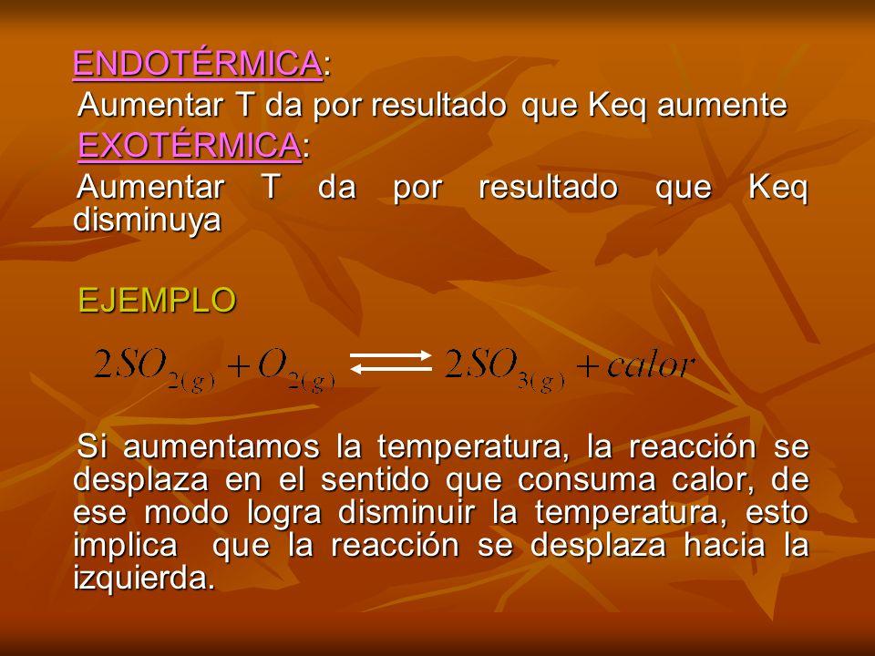 Aumentar T da por resultado que Keq aumente EXOTÉRMICA: