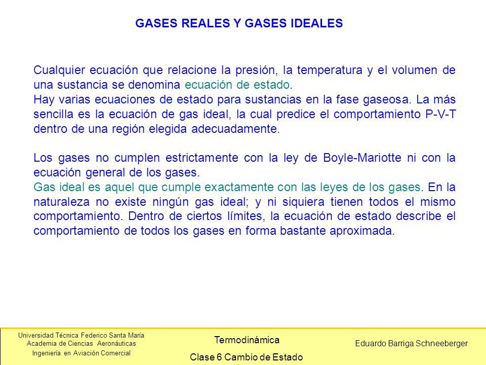 GASES REALES Y GASES IDEALES