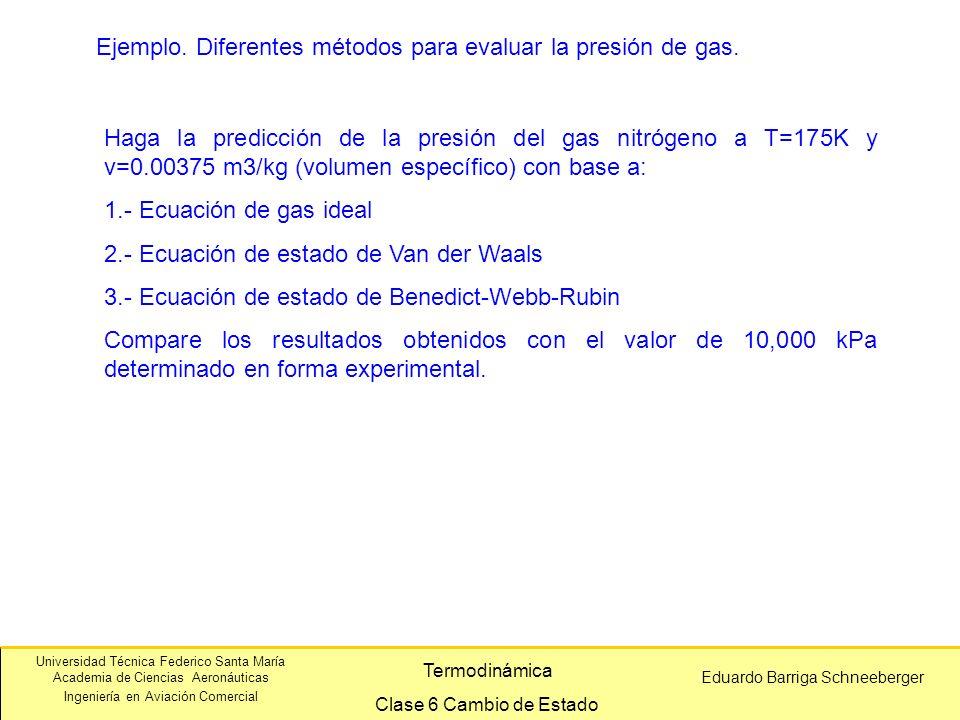 Ejemplo. Diferentes métodos para evaluar la presión de gas.