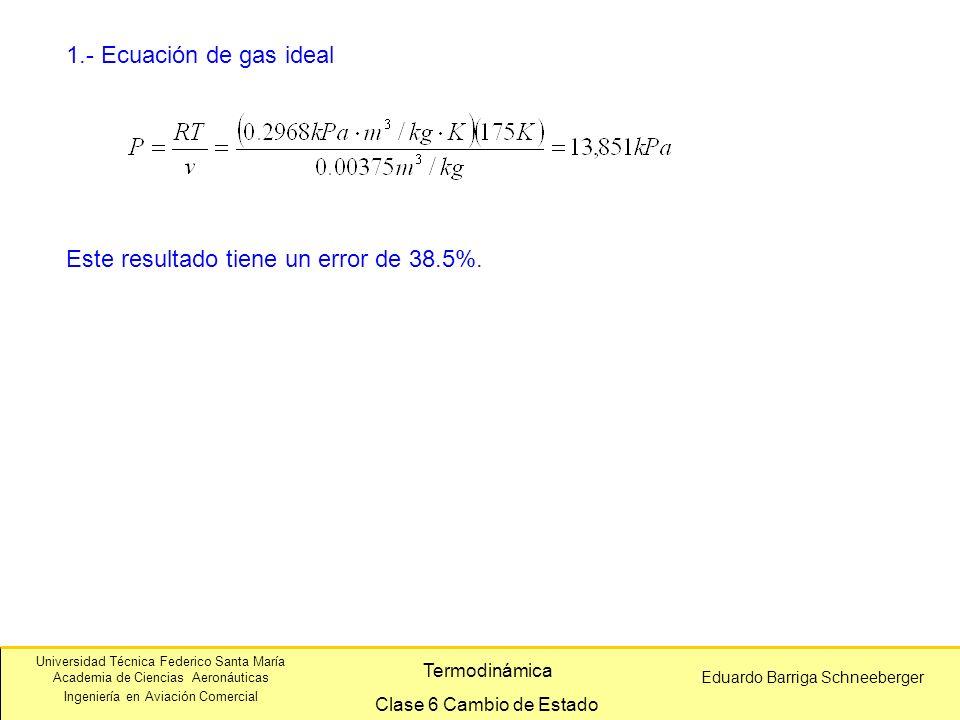 1.- Ecuación de gas ideal Este resultado tiene un error de 38.5%.