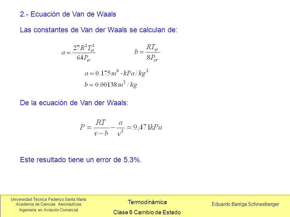 2.- Ecuación de Van de Waals