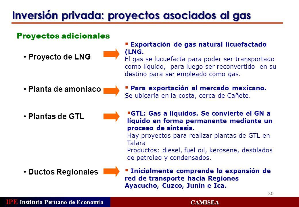 Inversión privada: proyectos asociados al gas
