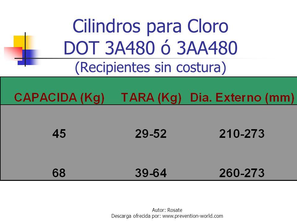 Cilindros para Cloro DOT 3A480 ó 3AA480 (Recipientes sin costura)