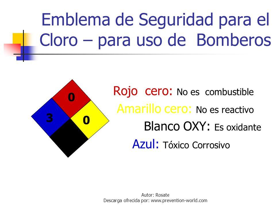 Emblema de Seguridad para el Cloro – para uso de Bomberos