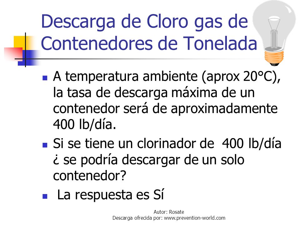 Descarga de Cloro gas de Contenedores de Tonelada