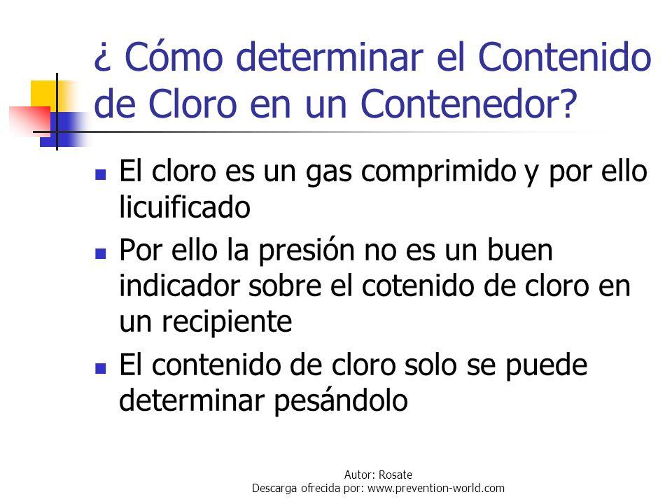 ¿ Cómo determinar el Contenido de Cloro en un Contenedor