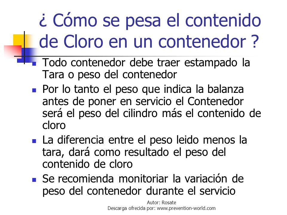 ¿ Cómo se pesa el contenido de Cloro en un contenedor