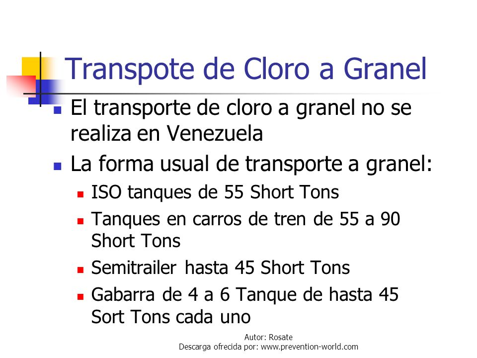 Transpote de Cloro a Granel