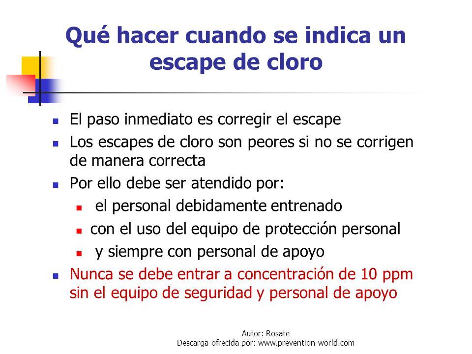 Qué hacer cuando se indica un escape de cloro