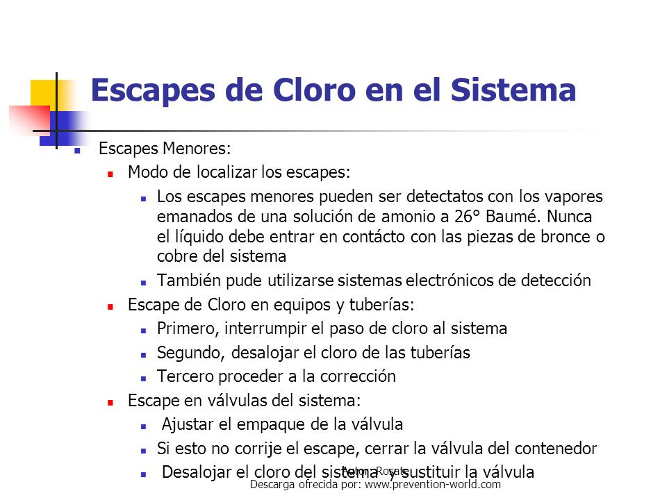 Escapes de Cloro en el Sistema