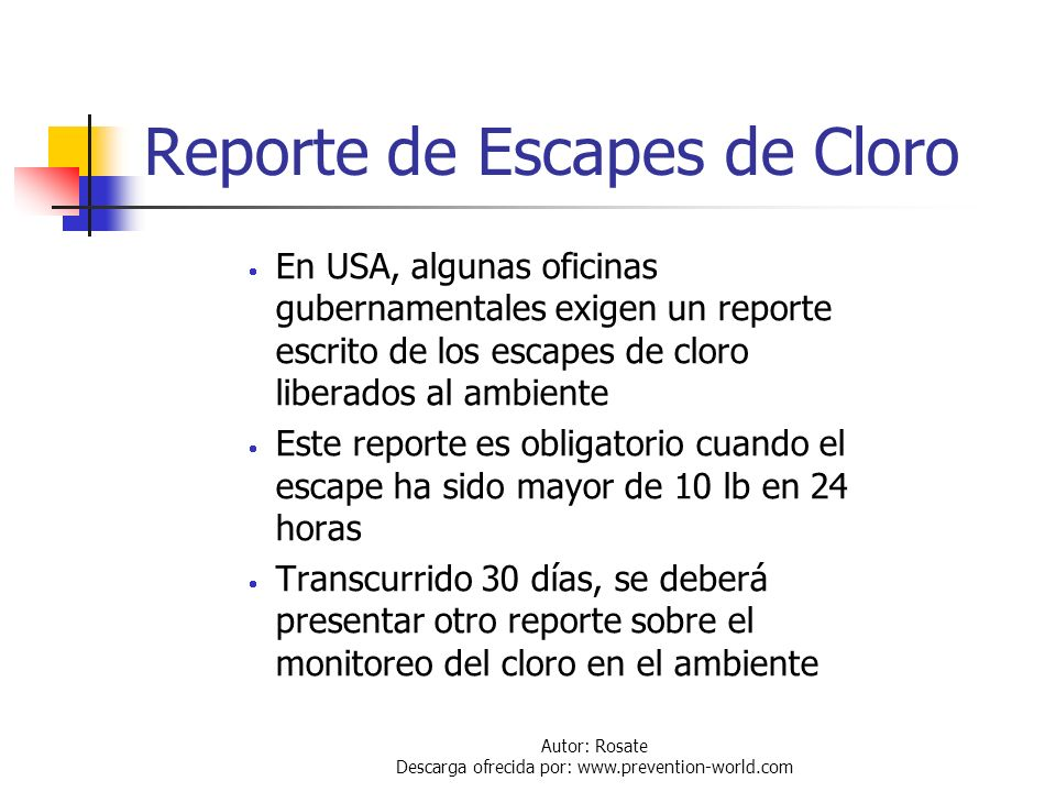 Reporte de Escapes de Cloro