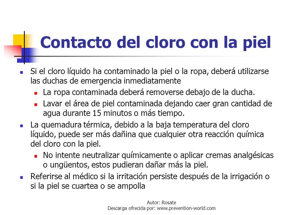 Contacto del cloro con la piel