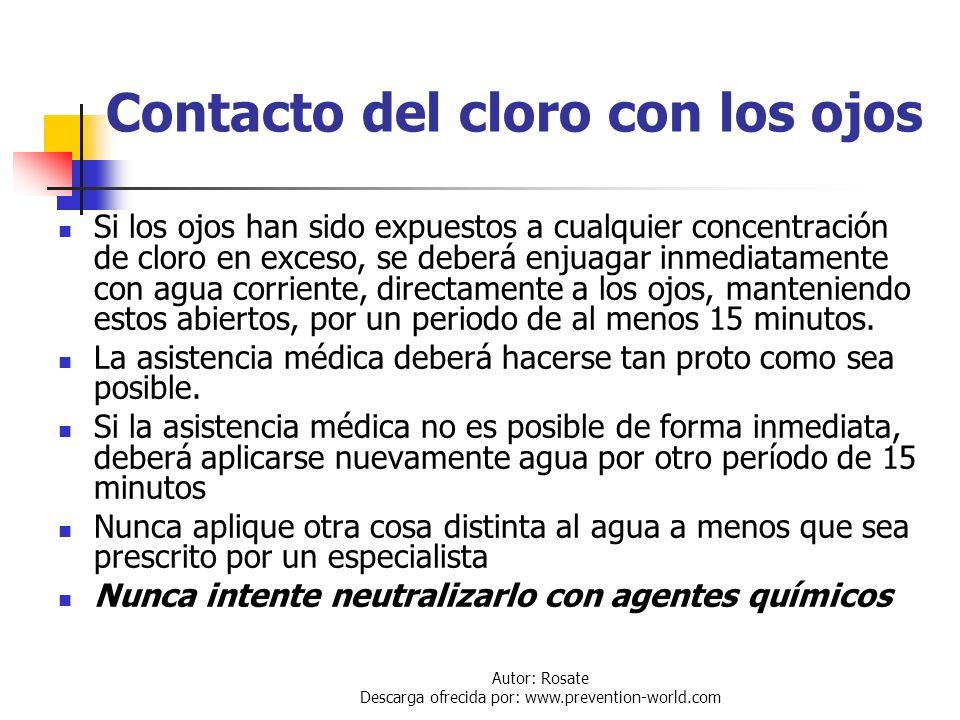 Contacto del cloro con los ojos