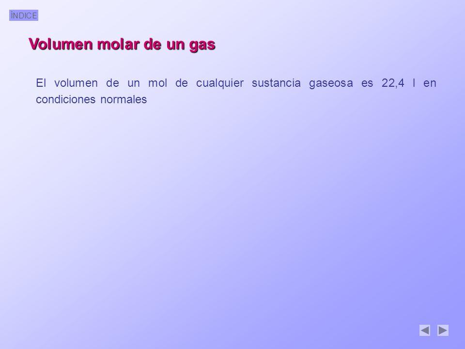 Volumen molar de un gas El volumen de un mol de cualquier sustancia gaseosa es 22,4 l en condiciones normales.