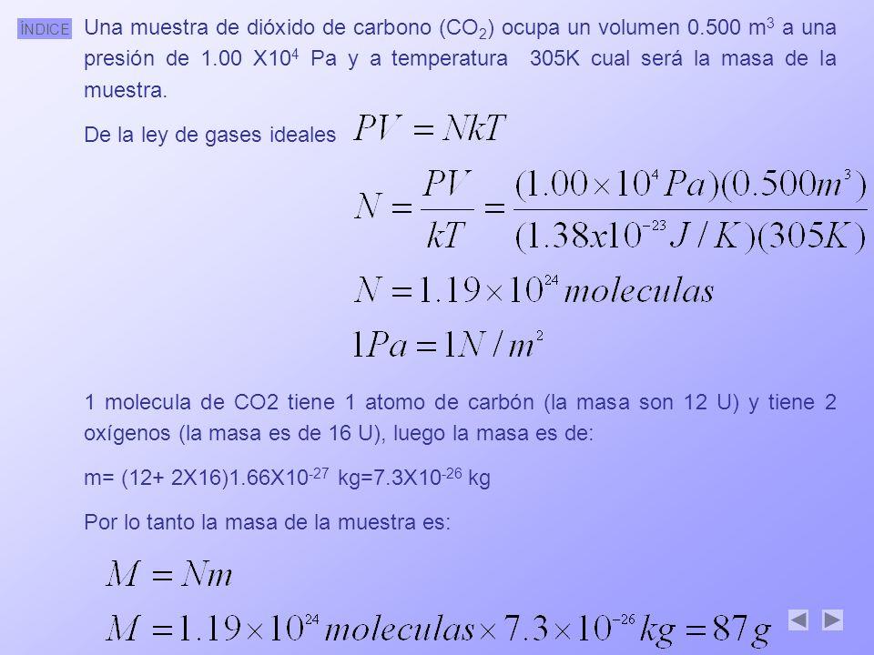 Una muestra de dióxido de carbono (CO2) ocupa un volumen 0