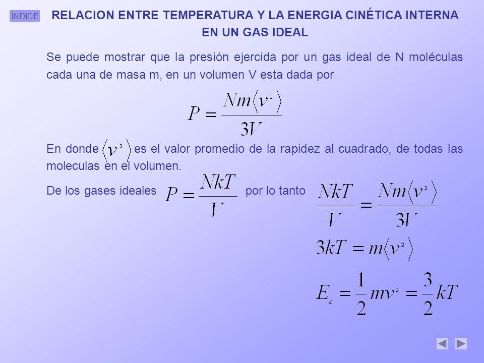 RELACION ENTRE TEMPERATURA Y LA ENERGIA CINÉTICA INTERNA EN UN GAS IDEAL