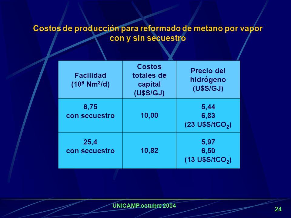 Costos totales de capital (U$S/GJ) Precio del hidrógeno (U$S/GJ)