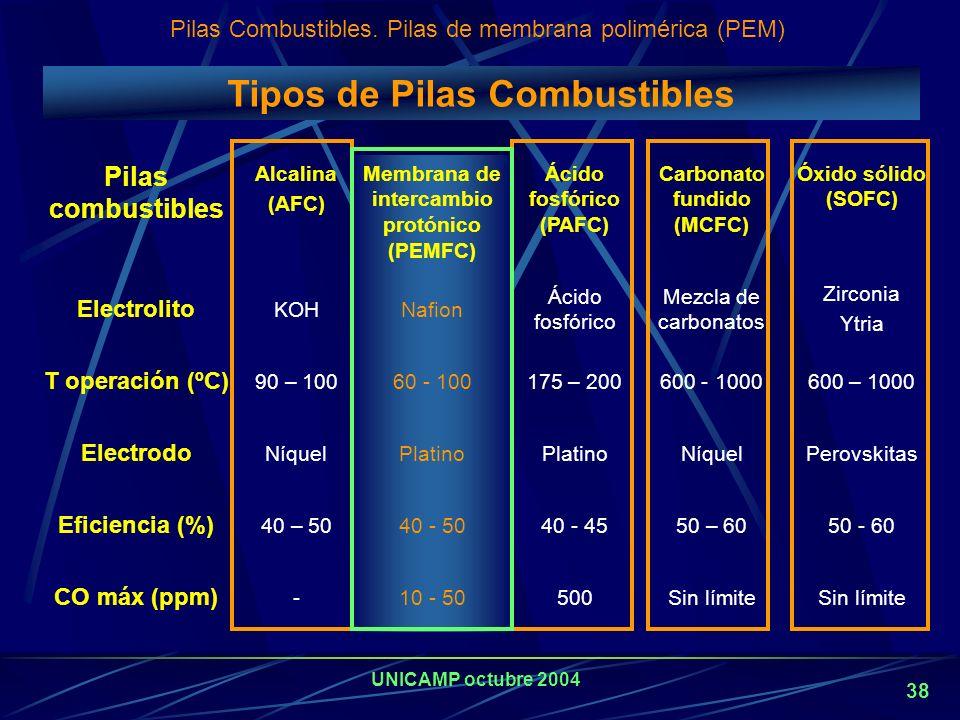 Tipos de Pilas Combustibles