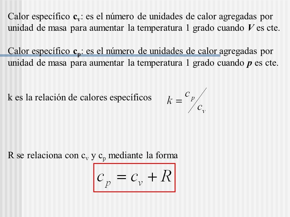 Calor específico cv: es el número de unidades de calor agregadas por unidad de masa para aumentar la temperatura 1 grado cuando V es cte.