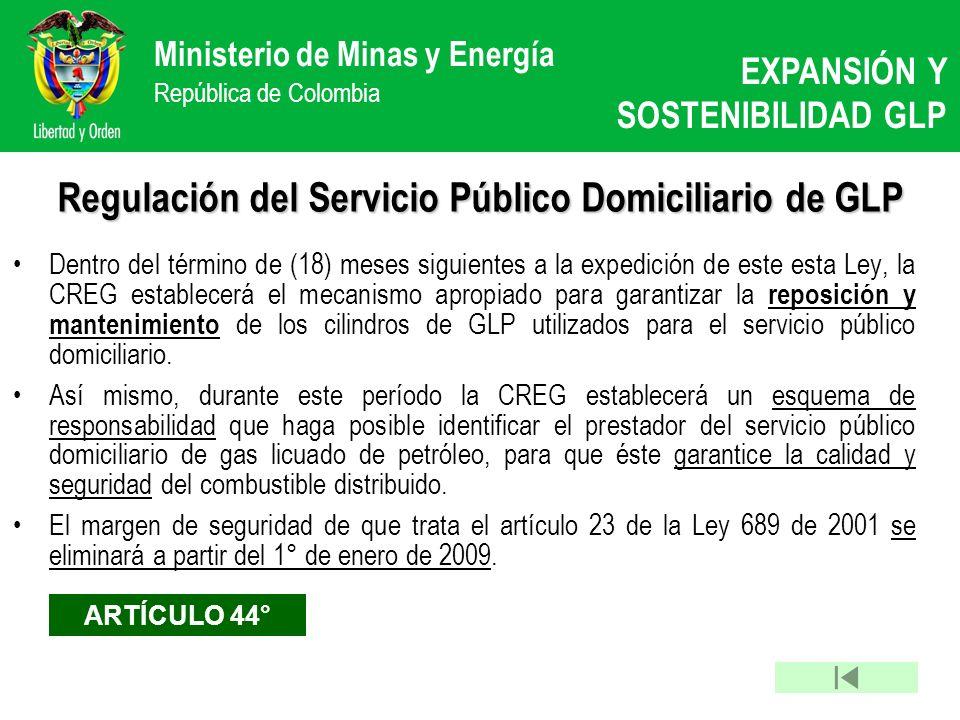 Regulación del Servicio Público Domiciliario de GLP