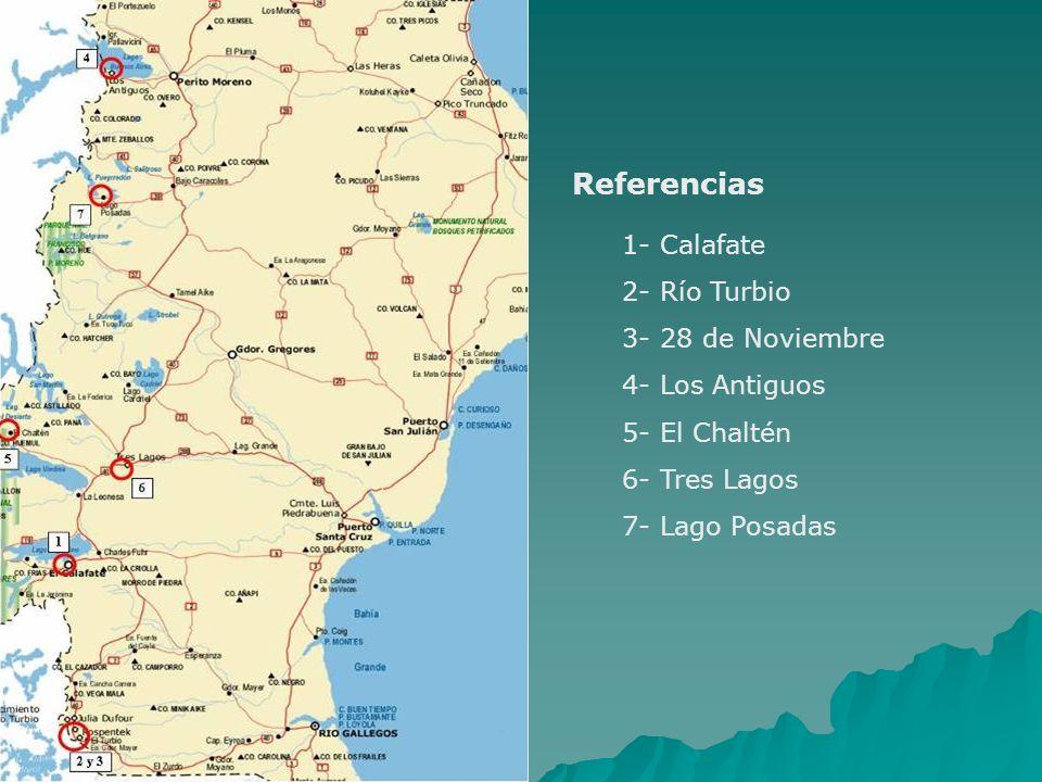 Referencias 1- Calafate 2- Río Turbio 3- 28 de Noviembre