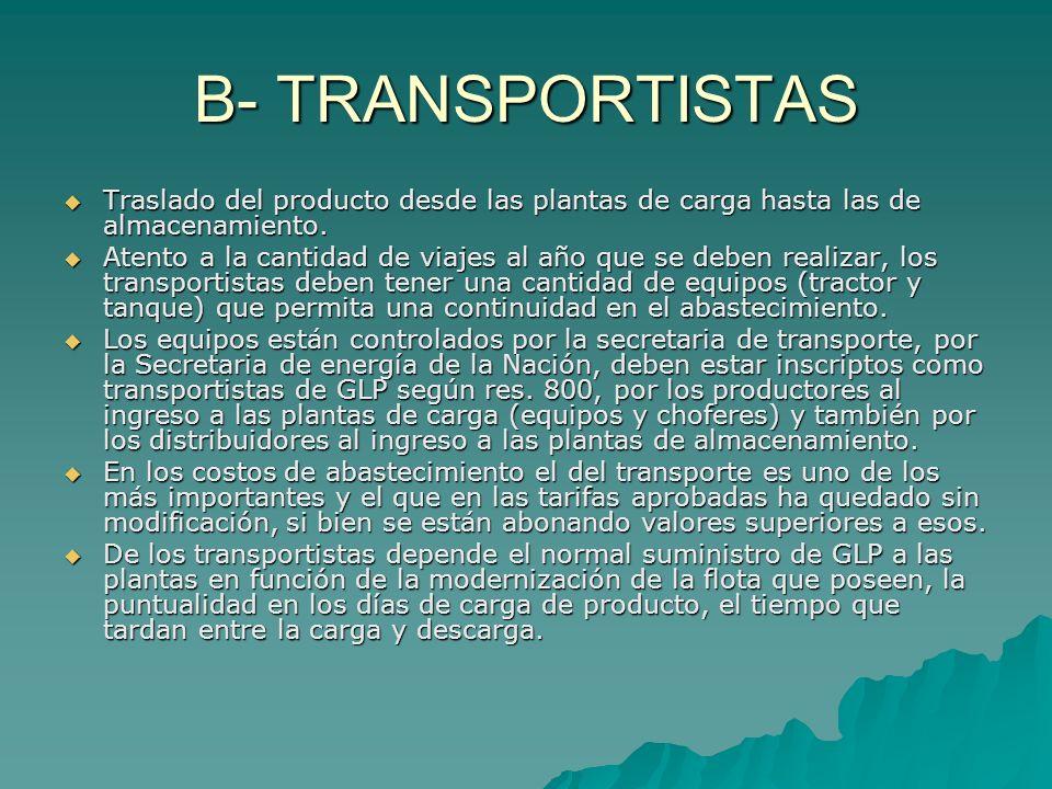 B- TRANSPORTISTAS Traslado del producto desde las plantas de carga hasta las de almacenamiento.