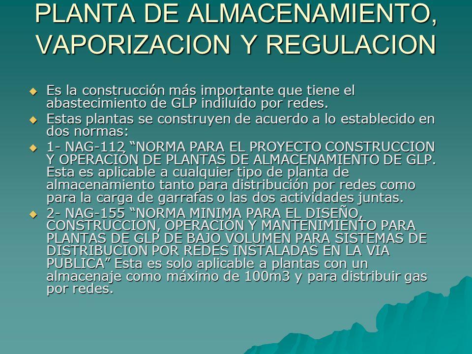 PLANTA DE ALMACENAMIENTO, VAPORIZACION Y REGULACION