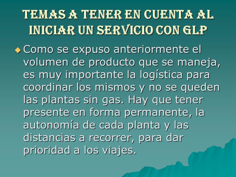 TEMAS A TENER EN CUENTA AL INICIAR UN SERVICIO CON GLP