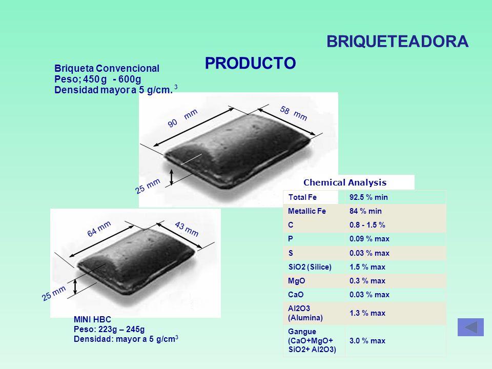 BRIQUETEADORA PRODUCTO Briqueta Convencional Peso; 450 g - 600