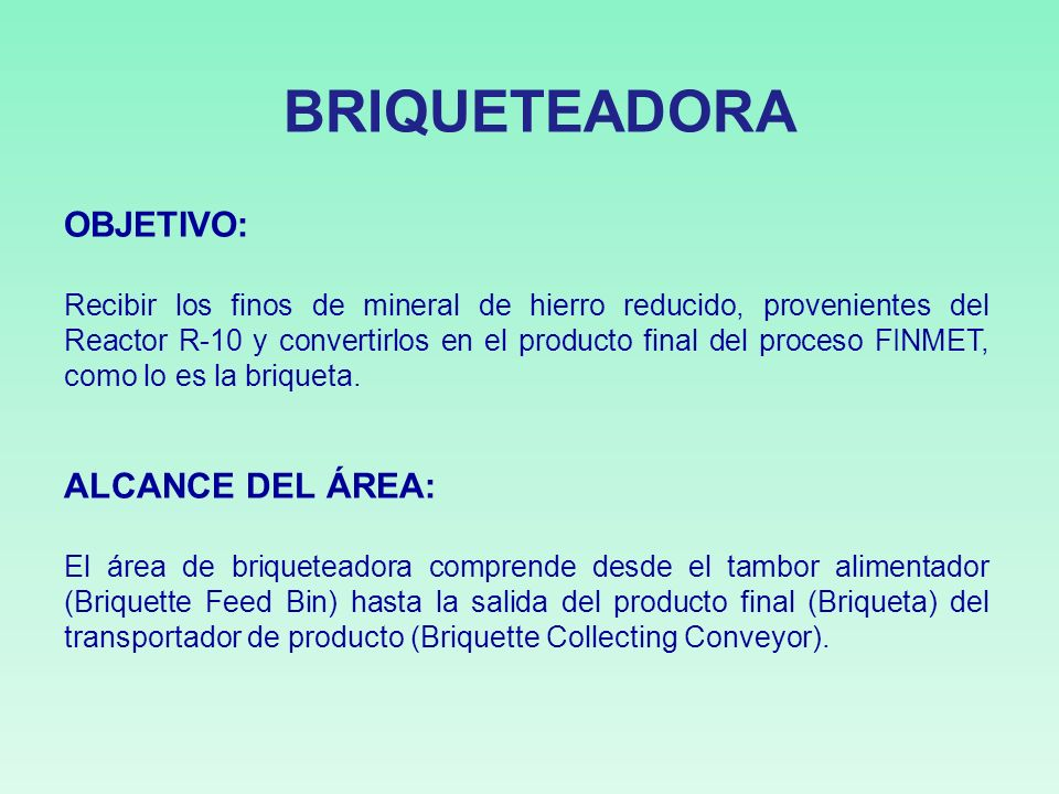 BRIQUETEADORA OBJETIVO: ALCANCE DEL ÁREA: