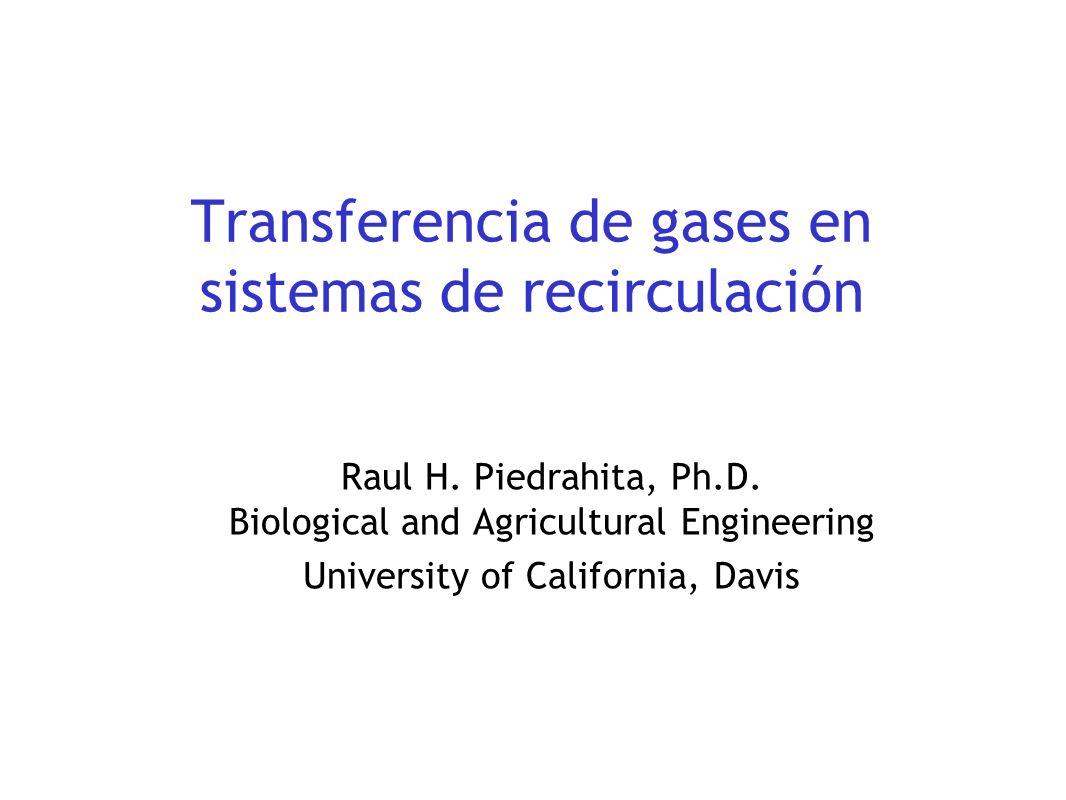 Transferencia de gases en sistemas de recirculación