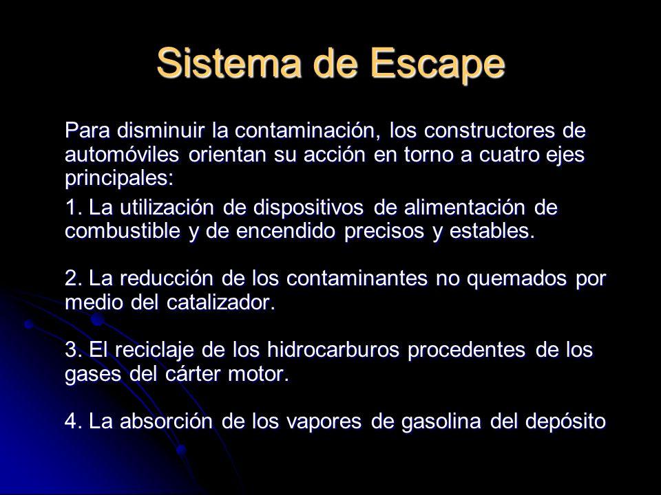 Sistema de Escape Para disminuir la contaminación, los constructores de automóviles orientan su acción en torno a cuatro ejes principales: