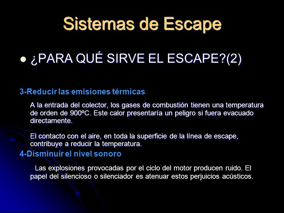 Sistemas de Escape ¿PARA QUÉ SIRVE EL ESCAPE (2)