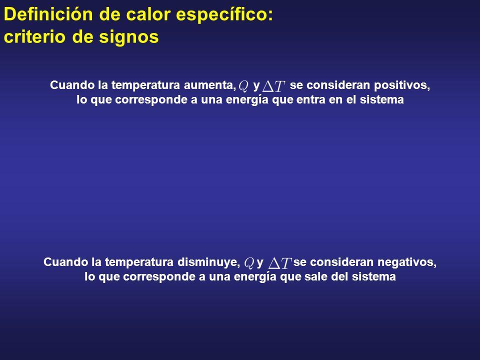 Definición de calor específico: criterio de signos